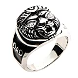 Jewelry Brands Men's Stainless Steel Lion Head and Black IP DAD Ring