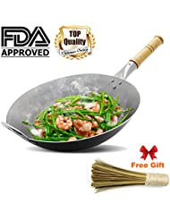 Wok Pan,Chinese pan Iron Wok Traditional Hand Hammered Uncoated Carbon Steel Wok Cookware with helper wooden, 14.4 inch Round Bottom Wok FDA approved