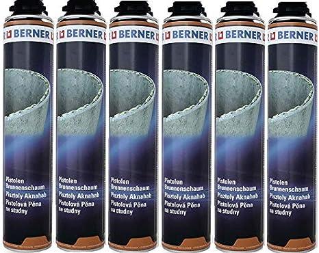 6 x Berner pozos de espuma 1 K de poliuretano de 750 ml * * * * perfecto para alféizar de ventana, juntas de conexión, canal & pozo de compartimentos. Mejor calidad