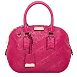 Burberry Women's Small Orchard in Embossed Check Fuchsia
