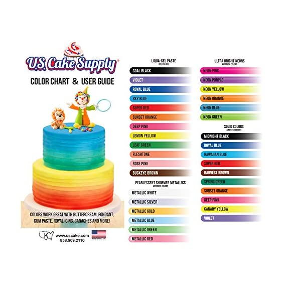 U. S. Cake supply airbrush cake color set - the 12 most popular colors in 2. 0 fl. Oz. Bottles with color mixing wheel… 4 airbrush colors are highly concentrated edible airbrush food colors with superior strength and are the brightest and truest colors available colors come in sealed bottles with easy-to-use twist-top dispenser bottles achieve an endless spectrum of magnificent colors with these intermixable airbrush colors