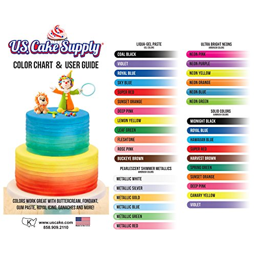 12 Color-US Cake Supply by Chefmaster Airbrush Cake Color Set - The 12 Most Popular Colors in 0.7 fl. oz. (20ml) Bottles by U.S. Cake Supply (Image #4)