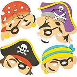 Lot de 4 Kits de Fabrication de Masques Pirates en Mousse - Idéal pour les déguisements de Carnaval