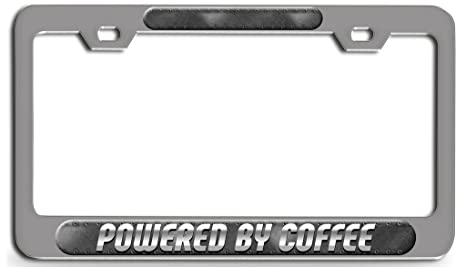 Powered By Coffee Black Metal License Plate Frame Tag Holder