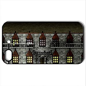 memories from child hood - Case Cover for iPhone 4 and 4s (Houses Series, Watercolor style, Black)