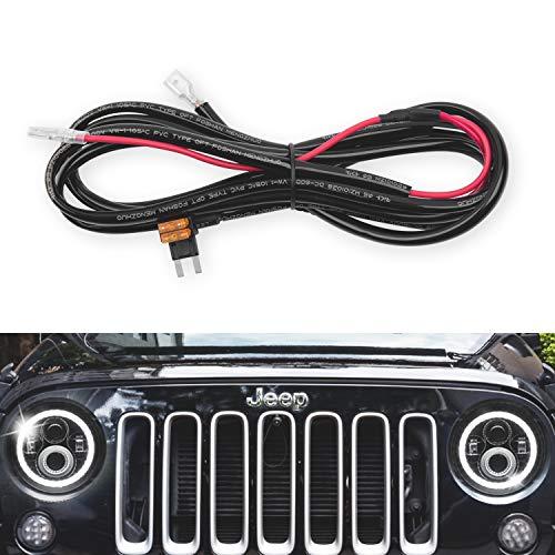 (GoodRun 1PCS Jeep Wranglert headlights Halo DRL Harness - Headlight Conversion Cable Wiring Harness, Fit Jeep Wrangler JK TJ or Trucks Car Leds Headlights Bulbs, 3.00m )