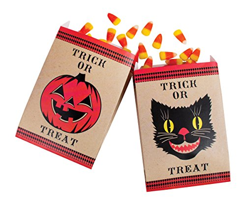 Party Partners 12 Count Black Cat And Pumpkin Kraft Paper Favor Bags, Brown