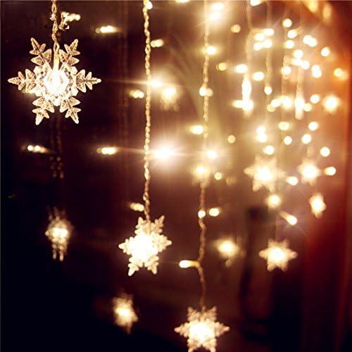Senofun Snowflakes LED Curtain Lights Color Changing 11.5ft 16 Snowflakes Fairy Lights 80pcs LED Snowflake Lights for Home, Church, Wedding, Birthday Snowflakes-Warm White