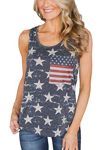 ROSKIKI Women American Flag Printed Summer Racerback Sleeveless Side Pocket Tank Tops Casual T Shirt