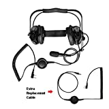 Maxtop AHDH0032RC-BK-K2B Two Way Radio Noise Cancelling Headset With Extra Cable for Baofeng BF-F8HP UV-5R BF-777