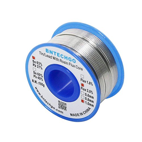 BNTECHGO Solder Wire Dia.1.0mm/0.039 Inch 63% Tin 37% Lead 2.0% Flux Rosin Core Net Weight 3.53 Oz/100g + Free 1 Pcs Soldering Iron Cleaning Sponge 60mm x ...