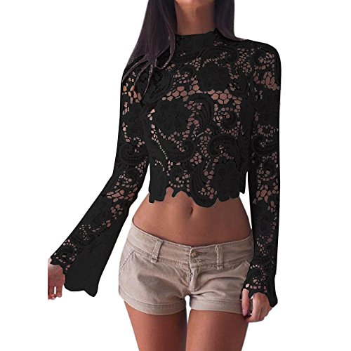 - Remelon Womens Black Floral Lace Tunic Crop Top Scallop Sheer Long Bell Sleeve Blouse S