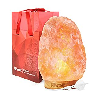 Levoit Elana Himalayan Salt Lamp Hand Carved Natural Himilian Hymalain Pink Salt Rock Lamps(8-11 lbs), Premium Quality Wood Base,Touch Brightness Dimmable Control,3 Bulbs,UL Cord & Gift Box