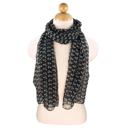 Elegant Sheer Dots & Ribbon Bows Print Fashion Scarf, - Sheer Print Dot