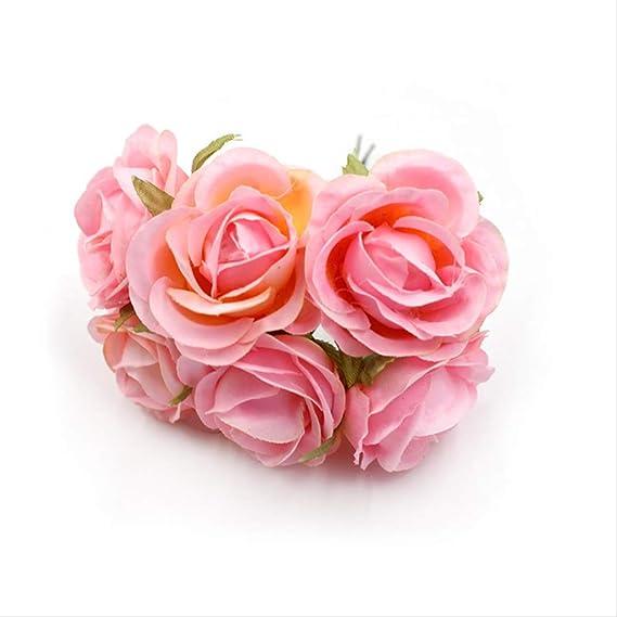 XYCC Flor Artificial 6 Unids/Lote 4 Cm Ramo De Seda Rosa