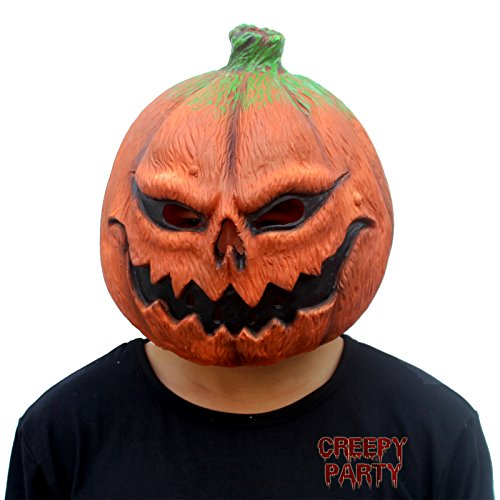 Party Novelties Halloween Costumes (CreepyParty Deluxe Novelty Halloween Costume Party Props Latex Pumpkin Head Mask (Pumpkin) (Pumpkin)