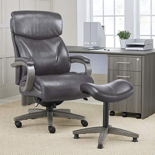 (Laz Boy Revere Big and Tall Executive Office Chair in Top Grain Leather Gray Top Grain Leather/Charcoal Wood)