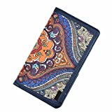 GLOSSYLED Canvas Card Wallet Minimalist Size for Credit Card, ID Card, Cashes Cute Wallet for Ladies (Blue long)