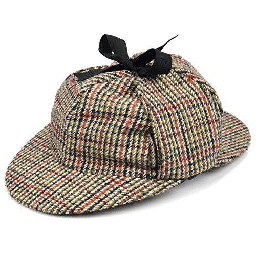 Sherlock Holmes Tweed Deerstalker hat with Two Peaks and Ear Flaps (58cm) Brown -