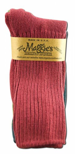 Maggie's Organic Cotton Crew Sock Tri-pack (10-13, Raspberry/Navy/Forest) (Crew Tri Packs)