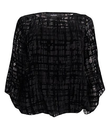 Alfani Womens Plus Size Velvet Burnout Top 0X Deep Black ()