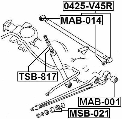 BUSHINGING REAR ARM Febest # MSB-021-1 Year Warranty