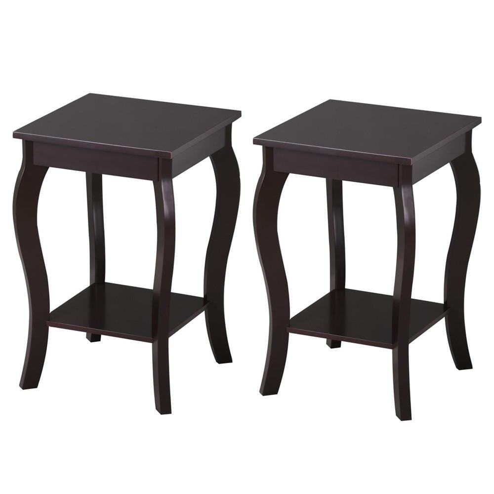 Topeakmart Wood Curved Legs Accent Side End Table Sofa End Table w/Lower Shelf Espresso, Set of 2