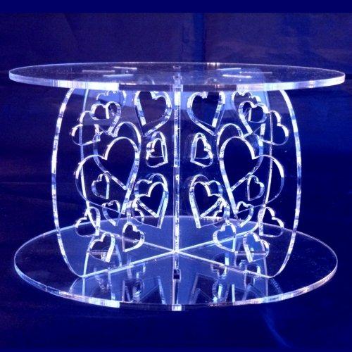 Hearts Round Acrylic Pillars Wedding & Party Cake Separators / Stands 18cm - 15cm