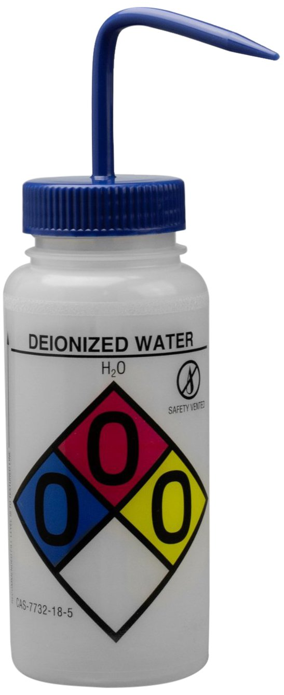Bel-Art GHS Labeled Safety-Vented Deionized Water Wash Bottles; 500ml (16oz), Polyethylene w/Blue Polypropylene Cap (Pack of 4) (F12416-0003)