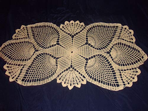 Yellow Lace Doily, Pineapple Oval, Lace Tablecloth, 14 x 29