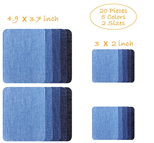 Iron-on Patches, 20-Pack Denim Cotton DIY Decorative Patch and Jean Repair Patches, 2 Sizes (4.9 x 3.7 and 3 x 2 inch), 5 Colors (20-Pack-Comb1)
