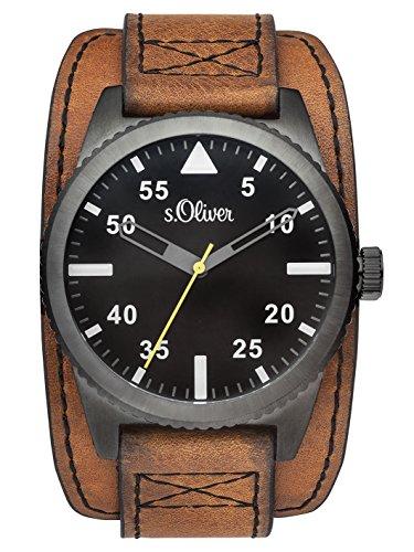 s.Oliver Herren-Armbanduhr Analog Quarz Leder SO-3154-LQ