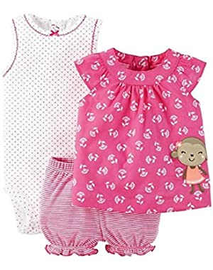 Just One You Baby Girls' Monkey Diaper Cover Set- Pink