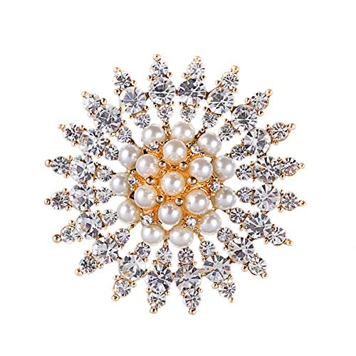 Merdia Brooch Pin Faux Pearl Brooches Simulated Crystal Brooch Pins Flower Brooch