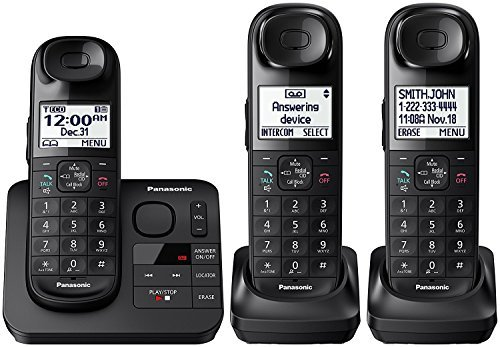 (Panasonic KX-TGL433B Dect 6.0 3-Handset Landline Telephone, Black (Renewed))