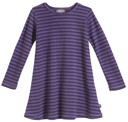 City Threads Little Girls' Cotton Long Sleeve Dress, Striped Purple, 6
