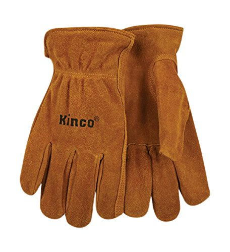 KINCO 50-S Men's Unlined Suede Cowhide Leather Drivers Gloves, Shirred Elastic Back, Small, Golden