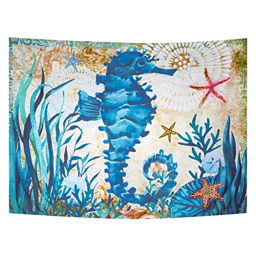 Zeronal Sea Horse Tapestry Throw Bohemian Mandala Wall Hanging Tapestry Wall Art Decor Fun Beach Cover up Table Runner/Cloth