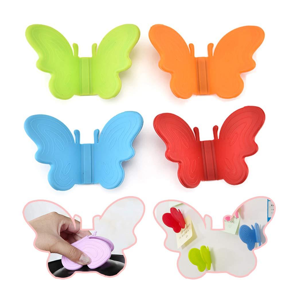 Lazeny Lot de 4 maniques en Silicone avec Support magné tique pour casseroles Motif Papillon
