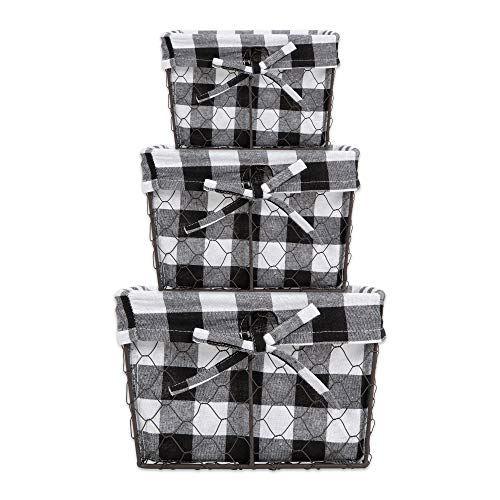 - DII Z02322 Vintage Food Safe Metal Chicken Wire Storage Baskets with Removable Fabric Liner for Home Décor or Kitchen Use, Assorted Set of 3, Black & White Check