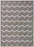 Rivet Textured Neutral Chevron Cotton Rug, 8' x 10', Grey