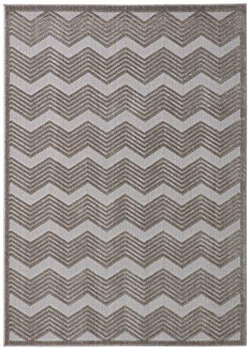 Rivet Textured Neutral Chevron Cotton Rug, 8' x 10', Grey by Rivet