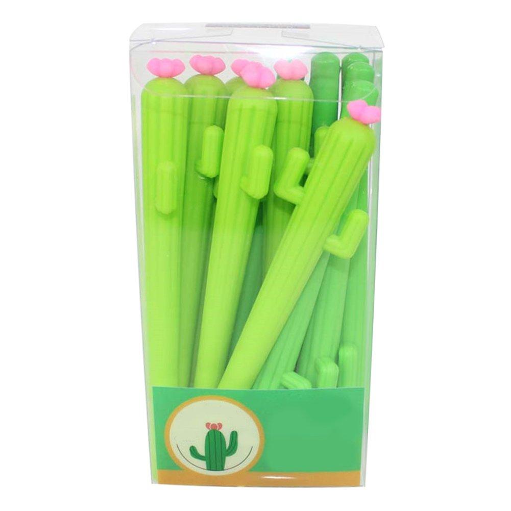 WeiMay Penna Gel Creativa - Cancelleria di plastica per ufficio scuola di penne in plastica a forma di cactus - 12pz