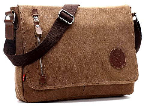 "Canvas Satchel Messenger Bag by Magictodoor 13.5"" Laptop Bag Coffee"
