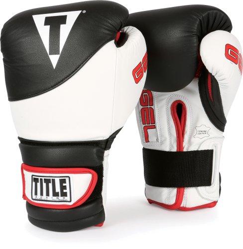 TITLE Boxing GEL Suspense Training Gloves, Black/White, 16 oz