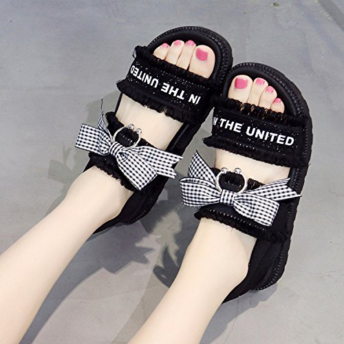 LGK&FA Zapatos De Mujer Comodidad Sandalias Casual Transpirable Transpirable Transpirable Transpirable Personal Dulce Dulce Dulce Y Zapatos De Mujer 35 Negro 35 black