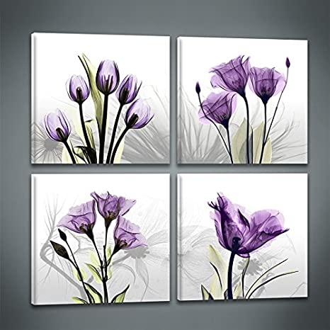 4 Panles Elegant Purple Tulip Abstract Flower Painting Artwork Canvas Print Wall Art For Bedroom Wall Decor Posters Prints