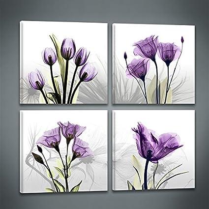 Niterny Art 4 Panles Elegant Purple Tulip Abstract Flower Painting Artwork  Canvas Print Wall Art for Bedroom Wall Decor