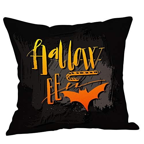 Throw Pillow Case, Halloween Home Decoration, Jessie storee Spider Witch Ghost Bat Polyester Cotton Throw Pillowcase Cushion Cover for Room Bedroom Sofa Chair Car, 18 x 18 inch, 45 x 45 cm, C ()