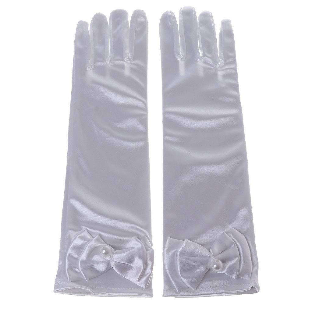 Rayon Reference Picture or Product Description wei/ß JAGENIE Kinder Lange Handschuhe Schleife Knoten M/ädchen Abschlussball Finger Satin Ellbogen Kost/üm Prinzessin /Ärmel